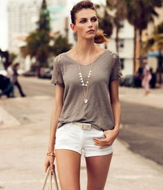 H & M US | $17.95 Straight V-neck top in linen jersey with short lace sleeves.