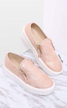 2c17e8ce8cc Pink Zipper Side Rubber Sole Flats New Shoes