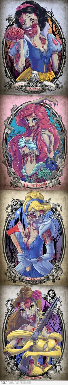 Belle and Cinderella carrying the gun and axe? Silly artist, zombies don't know how to use weapons..   The Zombie Princesses