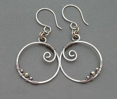 Oxidized Sterling Silver Circle Earrings with by ChainFlower