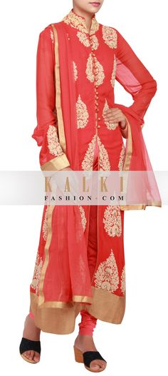 Buy Online from the link below. We ship worldwide (Free Shipping over US$100)  http://www.kalkifashion.com/featuring-a-red-georgette-straight-cut-suit-embellished-in-thread-and-sequence-work-only-on-kalki.html