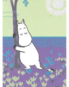 """Moomin by Tove Jansson. """"Lie on the bridge and watch the water flowing past. Or run, or wade through the swamp in your red boots. Or roll yourself up and listen to the rain falling on the roof. It's very easy to enjoy yourself. Les Moomins, Moomin Valley, Tove Jansson, Theme Noel, Little My, Typography Prints, Children's Book Illustration, In This World, Childrens Books"""