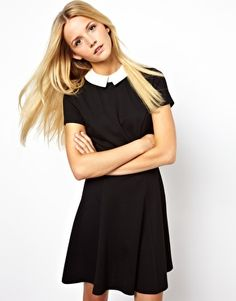 Skater Dress With Contrast Collar