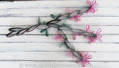 Cardboard Tube Wall Art: Cherry Blossoms from CraftsbyAmanda.com @amandaformaro