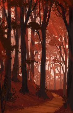 Scenery Background, Background Drawing, Fantasy Landscape, Landscape Art, Forest Drawing, Japon Illustration, Anime Scenery Wallpaper, Environment Concept Art, Environmental Art