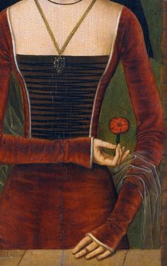 Young Woman with a Pink (detail), 1485-90, attr. to Hans Memling (Flemish, 1435-1494)