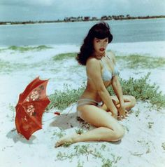 Bettie Page at the beach.