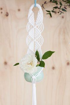 Triple Diamond Macrame Plant Hanger // White Nylon Indoor Pot Plant Hanger