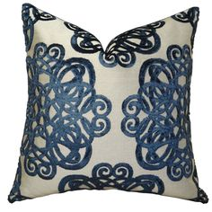 Elegance begins with this stunning navy and taupe graphic scroll pattern decorative pillow. The front fabric of this designer pillow is velvet and from Italy. <br><br><ul><li>Hypoallergenic down alter...