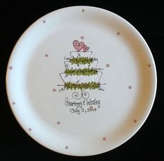 Items similar to Personalized Wedding Plate - Wedding Cake - Hand Painted Ceramic Wedding Plate on Etsy Painted Ceramic Plates, Hand Painted Ceramics, Ceramic Painting, Painted Pottery, Ceramic Art, Pottery Cafe, Pottery Painting Designs, Birthday Plate, Wedding Painting