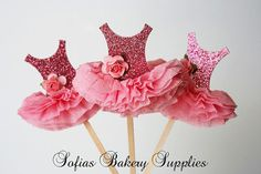 6pc set Ballerina cupcake toppers ballet tutu Pink Glitter. So want to do this next year!
