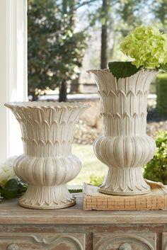Hestia Ceramic Vase - Vintage Ivory Glazed Ceramic Vase, Ceramic Centerpiece Vase | Soft Surroundings