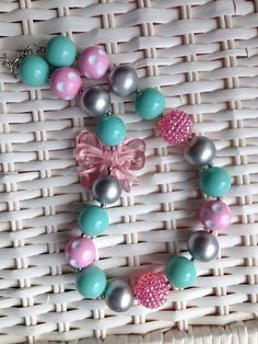 Pink and an teal chunky necklace.. Chunky bead by GirlzNGlitter, $16.50