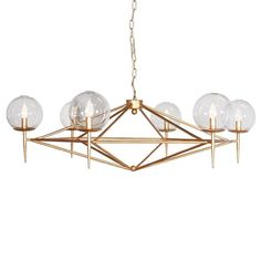 Lighting - An angular gold metal frame and six globe spheres illuminate interiors with compelling design.