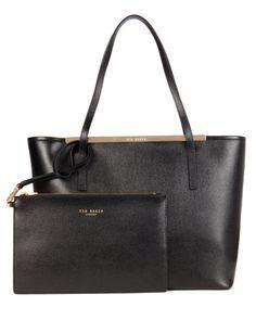 Leather crosshatch shopper - Black | Bags | Ted Baker