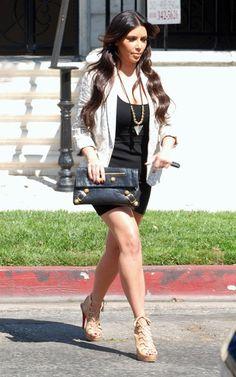 Kim Kardashian wearing Rebecca Taylor Don't Cheetah Me Jacket In Cream T by Alexander Wang Modal Spandex Tank Dress Christian Louboutin Miss Fortune Platform Sandals in Tan