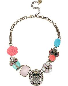 PET SHOP VINTAGE MULTI OWL NECKLACE MULTI accessories jewelry necklaces fashion | Get paid up to 10.6% Cashback when you shop at Betsey Johnson with your DubLi membership. Not a member? Sign up for FREE at www.downrightdealz.net