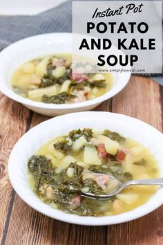 Instant Pot potato and kale soup is loaded with potatoes, cannellini beans and kale. It's the perfect comforting soup and makes a great family meal. | Simply Low Cal @simplylowcal #instantpotsoup #potatoandkalesoup #potatoandbeansoup #instantpotrecipe #familymeal #simplylowcal