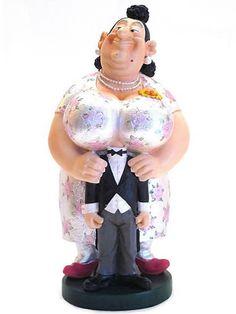 Albert Dubout *Souriez* dicke Frau u ihr kleines Männlein Skulptur 20609C • EUR 69,00 - PicClick DE