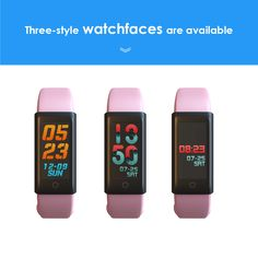 Iotton Pink Fitness Tracker has Three-style Watchfaces for iOS/Andriod Smartphone. Pink Fitness, Waterproof Fitness Tracker, Pink Workout, Android Smartphone, Smart Watch, Ios, Band, Stuff To Buy, Color