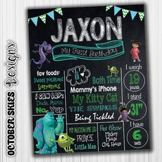 Monsters Inc  Birthday Chalkboard / by OctoberSkiesDesigns on Etsy