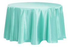"""Satin 132"""" Round Tablecloth - Light Turquoise ● As Low as $10.99"""