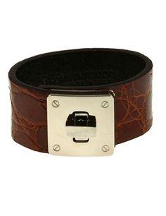 B Home Interiors - Home Interiors Chrome Buckle Embossed Leather Bracelet Mocha