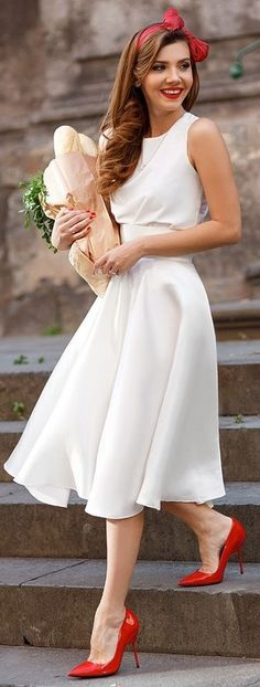 White Silk Dress + Red Accessories Source