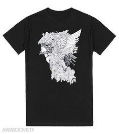 KRW Female Warrior T-Shirt | Fierce female warrior in her battle helmet adorned with feathers and flowers #Skreened