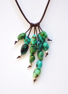 Larks head knotted leather dangles