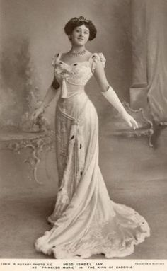 Miss Isabel Jay as 'Princess Marie' - 1908 - The King of Cadonia - Ermine trim Gown - Prince of Wales' Theatre