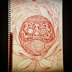 06022016 #draweveryday #daruma #達磨 #lotus #蓮 #rough #sketch #drawing #design #pencil #tattoo #tattoos #irezumi #刺青 #wabori #和彫 #thegrevilleinn #grevillestreet #prahran #melbourne #melbournetattoo #australia #strictlytattoogallery #vancouver #canada...