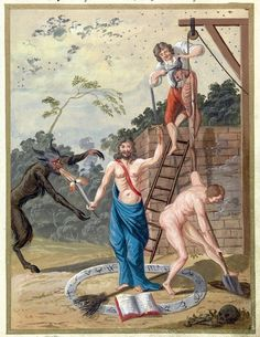"Demonio, Demon, ""Compendium rarissimum totius Artis Magicae sistematisatae per celeberrimos Artis hujus Magistros"" ca. Noli Me Tangere, Occult Books, Occult Art, Medieval, Arte Obscura, Watercolor Illustration, Watercolour, Satan, 18th Century"