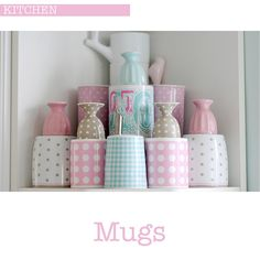 House of Turquoise: Torie Jayne House Of Turquoise, Kitchen Dishes, Kitchen Shelves, Baking Cupboard, Home Office, Pastel Kitchen, Pretty Mugs, Pretty Pastel, Craft Storage