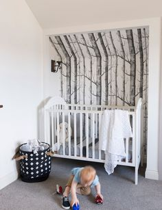 Cole and son wallpaper. Nursery. Great use of a nook, intimate and safe.