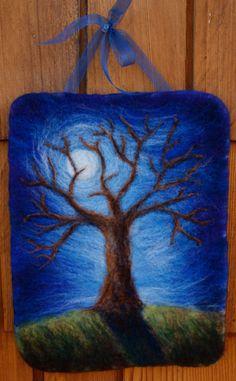 Felted Tree Wall Hanging by Nalii Padilla De-Lap Featured on… Nuno Felting, Needle Felting, Felt Wall Hanging, Felt Tree, Felt Pictures, Wool Art, Felt Animals, Felt Crafts, Textile Art