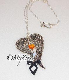 Magnifique collier NEPHILIM avec pendentif aile d'ange inspiré de The Mortal Instruments