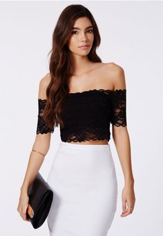 293bdb526b83d0 Telimesa Bardot Lace Crop Top - Tops - Crop Tops & Bralets - Missguided  rehearsal