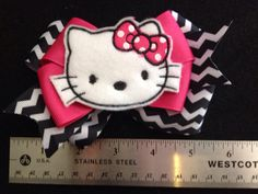 Hello kitty chevron hair bow 2 RTS on Etsy, $7.00