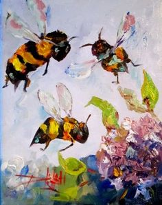 """Daily Paintworks - """"Bees Knees - Original Fine Art for Sale - © Delilah Smith Bee Painting, Bee Art, Bee Happy, Bees Knees, Fine Art Gallery, The Help, Art Drawings, Sketches, Butterflies"""