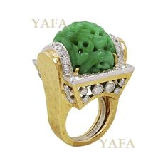 DAVID WEBB Diamond and Carved Jade Ring.........#ForSale #DavidWebb #carvedjade…