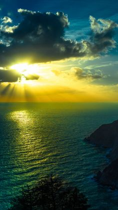 Mountains Sea Ocean Golden Sunshine Clouds Night