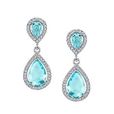 925 Sterling Silver Drop Dangle Pear Shape Aquamarine CZ Earrings Brides Maids >>> You can get more details by clicking on the image.(This is an Amazon affiliate link and I receive a commission for the sales)