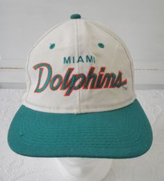 499ca90917f Vintage Miami Dolphins Hat Sports Specialties Script Snapback Hat Cap  Cotton Twill One Size Made in Korea NFL Football by TraSheeWomen on Etsy