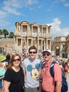 The Coopers enjoying the library at Ephesus, as part of their epic Mediterranean Magic vacation - a combined Adventures by Disney / Disney Cruise Line voyage.