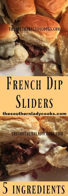 the-southern-lady-cooks-french-dip-sliders (shredded beef sliders) Wine Party Appetizers, Appetizer Recipes, Appetizer Ideas, Dinner Recipes, Slow Cooker Recipes, Crockpot Recipes, Cooking Recipes, Beef Sliders, Tailgating Recipes