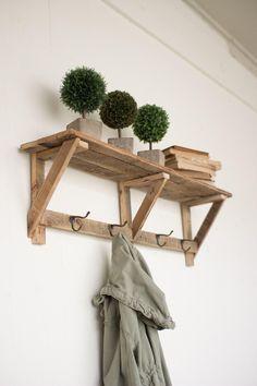 Recycled Wood Shelf With Four Coat Hooks