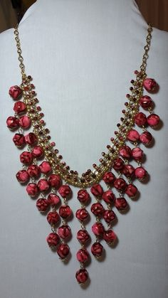 Bib necklace made from vintage beads