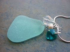 Aqua Blue Sea Glass Necklace  X Large Size by TheMysticMermaid, $42.00