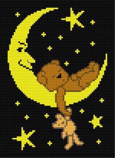 sweet dreams (night, sleep, sky, stars, teddy-bears, good-night, black canvas )